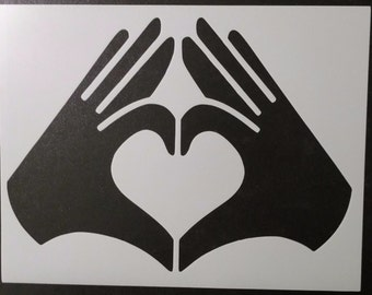 Hands Heart Love Custom Stencil FAST FREE SHIPPING