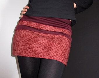 Japanese fabric skirt red SEIGAIHA