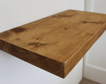 Handcrafted rustic reclaimed chunky wooden floating shelf / shelves 12 x 2 inch or 300mm x 47mm.