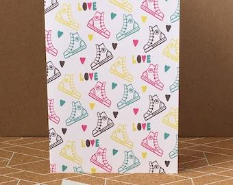 Trainer Love - Pop Art - Fun - Funky - Greeting Card - Colourful-