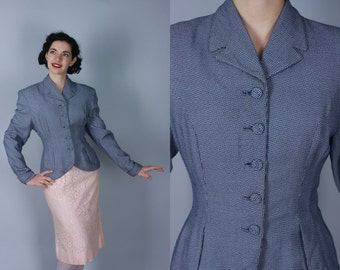 Vintage 1940s Jacket | 40s 50s Dark Blue & White Geometric Blazer | Large