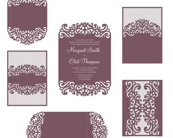 laser cut wedding invitation template etsy. Black Bedroom Furniture Sets. Home Design Ideas