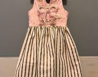 Rose Gold Dress, Handmade Girls Dress, Boutique Dress, Party Dress, Special Occasion Dress, Girls Summer Dress, Gold Dress, Girls Apparel