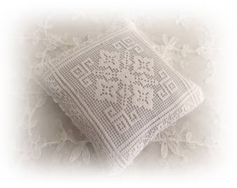 Repurposed vintage filet lace lavender sachet filled with Australian lavender