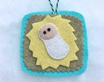 Baby Jesus Ornament, Wool Felt, Handmade, Christmas, Hanging Decoration