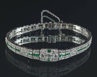 Art Deco Platinum  Diamond & Emerald Bracelet