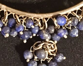 Vintage sterling silver and lapis arm bracelet/ boho/ hippy