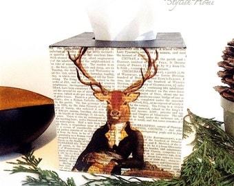 vintage stag tissue box cover/ deer kleenex box holder, kleenex box cover, wooden tissue box
