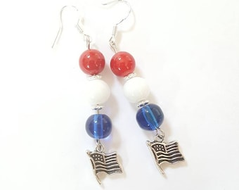 Memorial Day earrings - 4th of July earrings - Red white and blue earrings - Holiday earrings  - Memorial Day jewelry  - Fourth of July