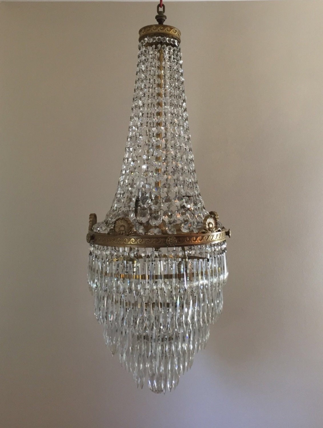 Antique French Empire Basket Wedding Cake Crystal Chandelier Ceiling Fixtue - Antique French Empire Basket Wedding Cake Crystal Chandelier