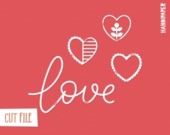 Lettering love heart embellishments cut file (svg, dxf, png) for Silhouette, Cricut, paper crafting, scrapbooking, card making, valentine