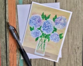 Gorgeous Hydrangea Note Card with Envelope - Hydrangea Card - Floral Note Card - Card Handmade - Original Artwork Card - Flower Card