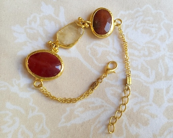 Triple agate handmade bracelet, gold plated, semiprecious gemstone, jewelry and balance