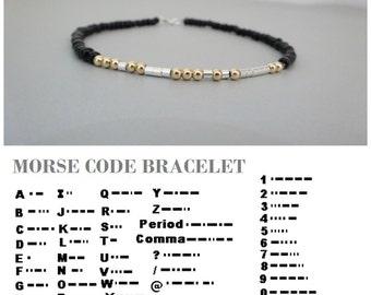 Morse Code Bracelet, Custom Morse Code, Secret Message Bracelet, Gift  boyfriend, husband, brother, Sterling silver, gold fill, mens jewelry
