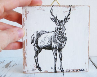 Miniature deer print, print on wood, Nature art, Wood signs, Cabin decor, Hipster room decor
