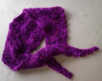 Hand Kint, Thick Tapered Purple Scarf