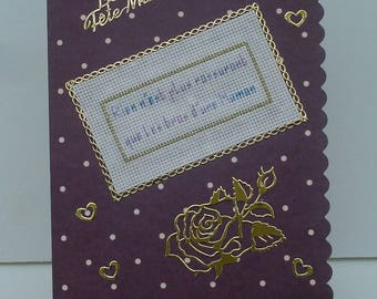 Card celebration of moms small pea embroidered hand