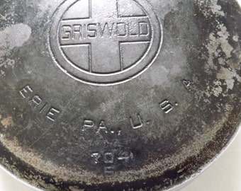 "8"" GRISWALD CHROME CAST iron pan"