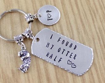 Engagement Gift I Found Otter Half Otter Keychain - Otter Wedding Gift - Otter Anniversary Gift - Boyfriend Girlfriend Gift