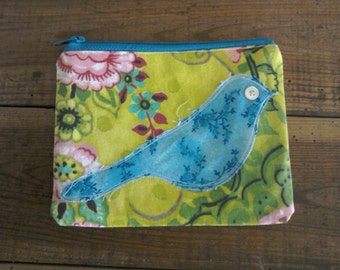 Pretty Floral purse with blue bird detail