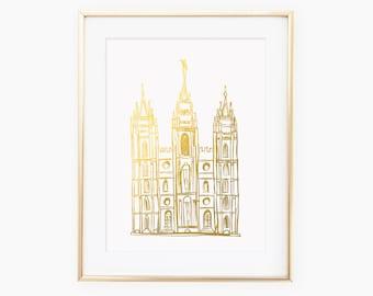 Illustrated Salt Lake City Utah Temple Gold Foil Art Print
