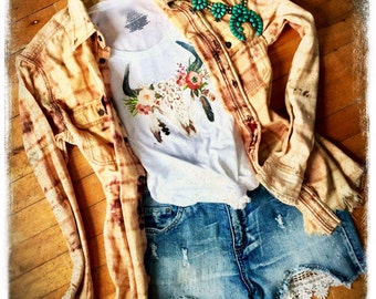 Cowgirl Gypsy Floral Steer Skull Tee Junk Distressed Country Women's Shirt Western Bohemian