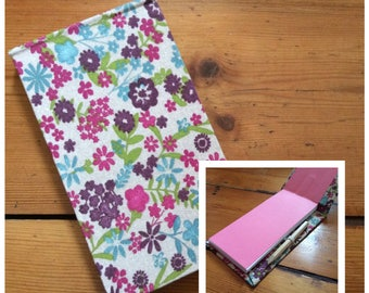 Handmade Jotter Notebook with Pencil in a Floral Fabric