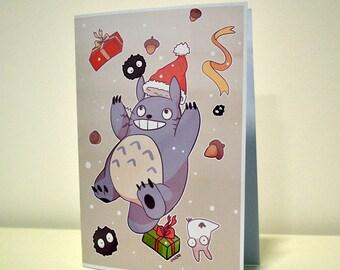 Totoro Christmas Holiday Card Pokemon Illustrated Greetings Card My Neighbor Studio Ghibli Santa Japan Kawaii