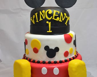 Mickey Mouse inspired fondant cake decorating set