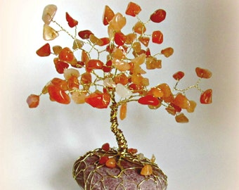 Tree of life, aventurine, minerals, miniature tree, orange, mini wire tree of happiness, tree of minerals, bonsai tree