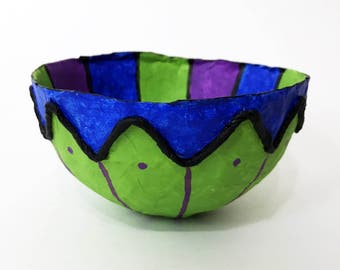 handmade bowl, Trinket Bowl, jewelry dish, ring dish, paper mache bowl, paper bowl,organizer, Unbreakable colorful bowl, recycled paper bowl