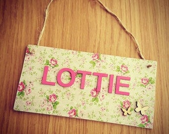 Personalised floral name plaque pink decoupage girl's room nursery decor shabby chic butterflies