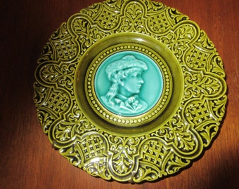 GERMANY MAJOLICA with Woman's Profile
