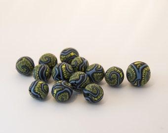PROMO-set of handmade fimo beads to fancy blue, wasabi, black