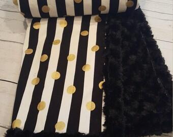 Black and White Stripes, Metallic Gold Polka Dot Minky Blanket