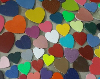 Leathet Hearts, 50 Pcs, 5 Sizes 15 mm. 20 mm 25 mm. 30 mm. 40 mm., Mixed Colors, Leather Hearts, Leather Hearts Die Cut, DIY Projects.