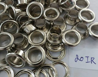 100 sets, 6.3 mm. Hole, Metal Eyelets Grommets with Washers, Silver Tone Metal Eyelets.