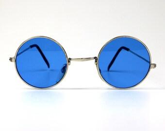 Vintage Round Blue MINI Sunnies // No.18