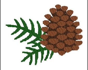 Pinecone Pine Tree Embroidery Design