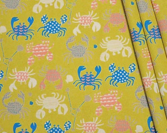 Tahti Crab Cancer Horoscope Mustard Yellow Hokkoh Crabs Japan Cotton Oxford Canvas Fabric