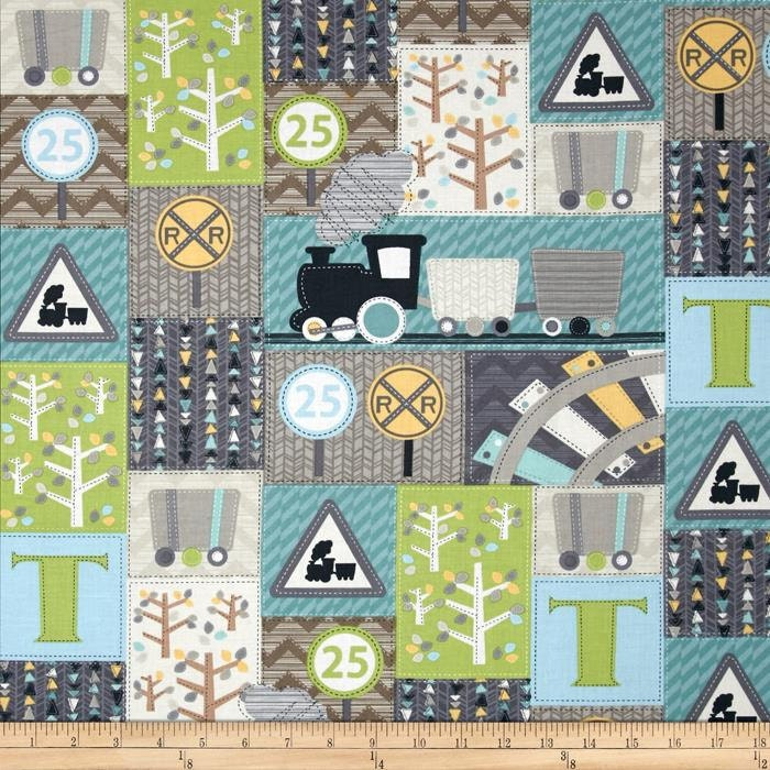 All aboard train station patch trains track cotton fabric from for Train themed fabric