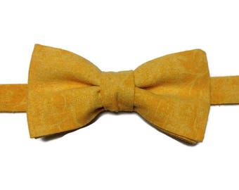 bow tie lin saffron yellow shade, linen bowtie, bowtie, BowTie wedding yellow