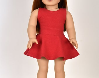 Skater Skirt Color Red 18 inch doll clothes