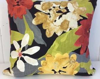 SALE - Floral Botanical Black Velvet cushion cover