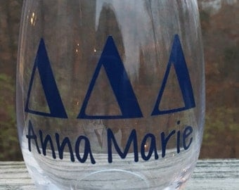 Sorority Stemless Wineglass with Name