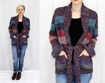 Vintage 70s SPACE Dyed Sweater Open Front WRAP Retro Hippie Cardigan Jacket M