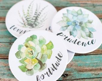 Succulent Print Coasters, Four Cardinal Virtues Cork Coaster Set, Catholic Housewarming Gifts, 602024