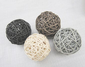 20PCS Mixed Black Gray Brown White Decorative Wicker Rattan Ball Vase Filler Floral Arrangement Christmas Ornaments Wedding Home Decoration