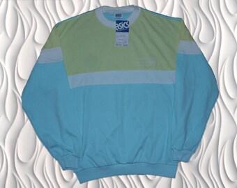 80's DEADSTOCK ASICS  - Medium - Neon Colorblock Sweatshirt - Made in Japan -