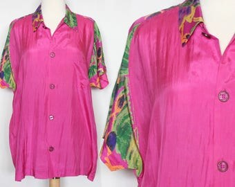 Vintage Silk Blouse Magenta Button Down Shirt 90s Blouse Fresh Prince Shirt Hipster Blouse Neon Blouse Hippie Blouse Boho Blouse Size L